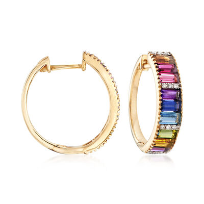 2.00 ct. t.w. Multi-Gemstone and .10 ct. t.w. Diamond Hoop Earrings in 14kt Yellow Gold, , default