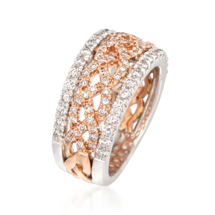 1.00 ct. t.w. Diamond Braided Band Ring in 14kt Two-Tone Gold