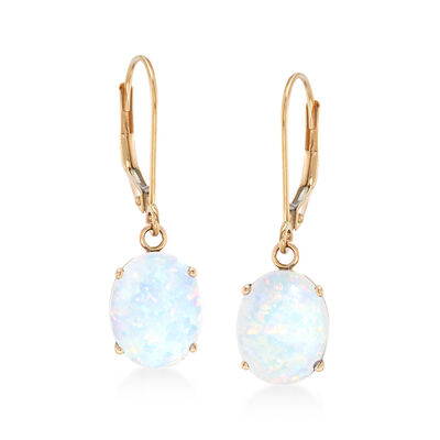 Simulated Opal Drop Earrings in 14kt Yellow Gold