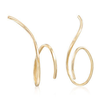 "14kt Yellow Gold Endless Swirl Wire Threader Earrings. 1/2"", , default"