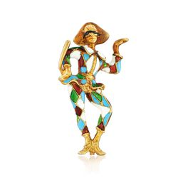 C. 1960 Vintage 18kt Yellow Gold Jester Pin With Multicolored Enamel , , default