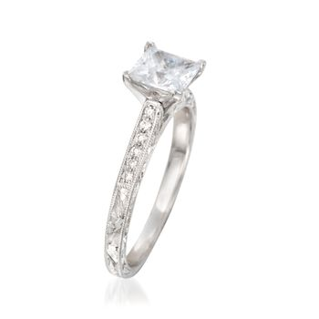 .10 ct. t.w. Diamond Engraved Engagement Ring Setting in 14kt White Gold, , default