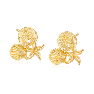 14kt Yellow Gold Sea Life Trio Earrings, , default