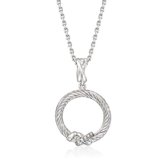 "Phillip Gavriel ""Italian Cable"" Sterling Silver Open-Circle Pendant Necklace. 18"", , default"