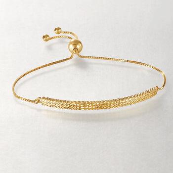 14kt Yellow Gold Diamond-Cut Bolo Bracelet, , default