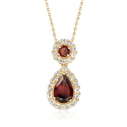 "2.30 ct. t.w. Garnet and .70 ct. t.w. White Topaz Necklace in 18kt Gold Over Sterling. 18"", , default"