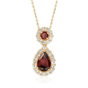 """2.30 ct. t.w. Garnet and .70 ct. t.w. White Topaz Necklace in 18kt Gold Over Sterling. 18"""", , default"""