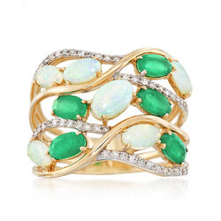 Opal and 1.20 ct. t.w. Emerald Multi-Row Ring With .19 ct. t.w. Diamonds in 14kt Yellow Gold, , default