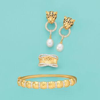 .14 ct. t.w. Diamond Hammered Bangle Bracelet in 18kt Gold Over Sterling, , default