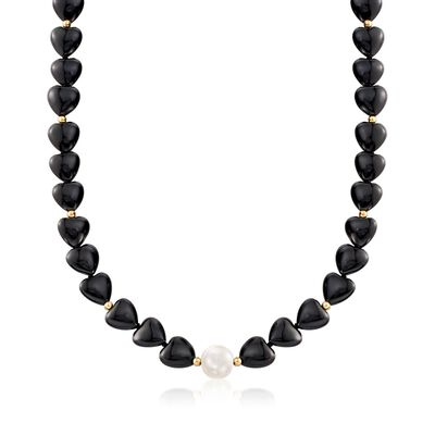 10-10.5mm Cultured Pearl and Black Onyx Heart Bead Necklace with 14kt Gold