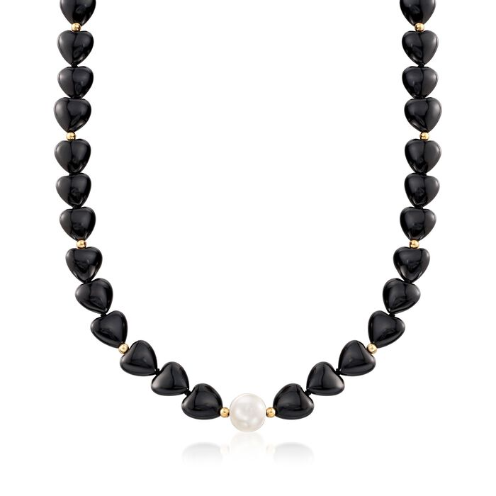 10-10.5mm Cultured Pearl and Black Onyx Heart Bead Necklace with 14kt Gold, , default