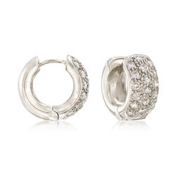 C. 1990 Vintage 1.00 ct. t.w. Pave Diamond Huggie Hoop Earrings in Platinum, , default
