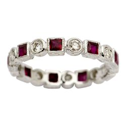 Diamond and Ruby Eternity Band in 18kt White Gold, , default