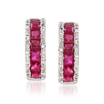 "1.50 ct. t.w. Ruby and .30 ct. t.w. Diamond Huggie Hoop Earrings in 14kt White Gold. 1/2"", , default"