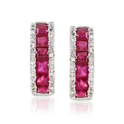 1.50 ct. t.w. Ruby and .30 ct. t.w. Diamond Huggie Hoop Earrings in 14kt White Gold, , default