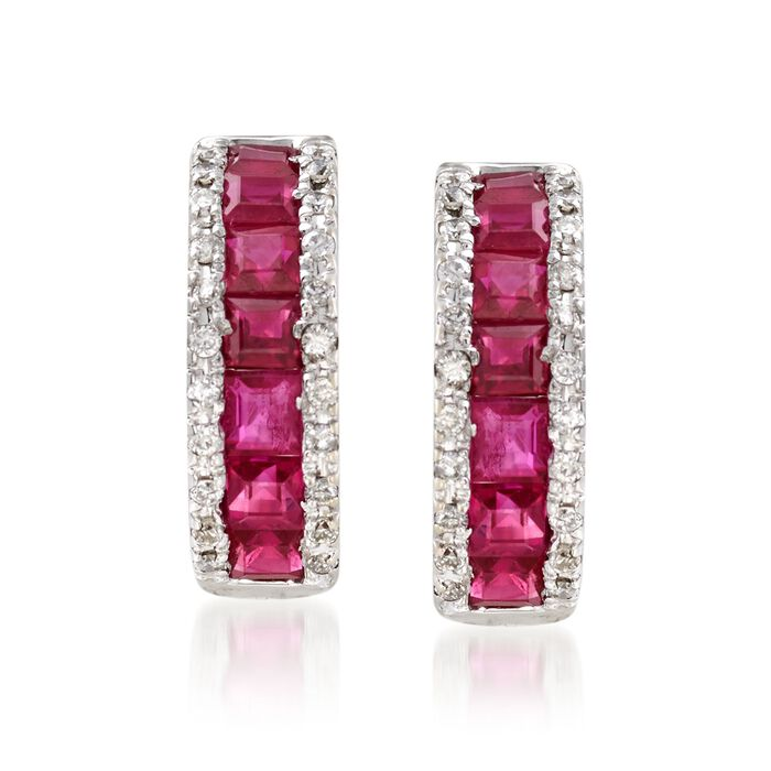 "1.50 ct. t.w. Ruby and .30 ct. t.w. Diamond Huggie Hoop Earrings in 14kt White Gold. 1/2"", , default"