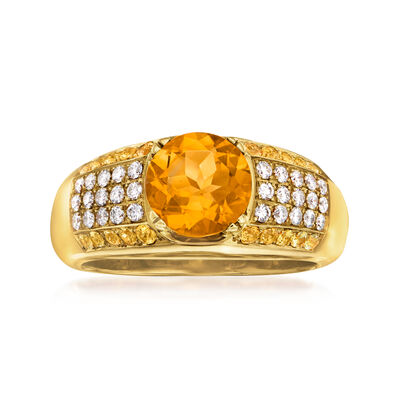 C. 1980 Vintage 2.15 ct. t.w. Citrine and .40 ct. t.w. Diamond Ring in 18kt Yellow Gold