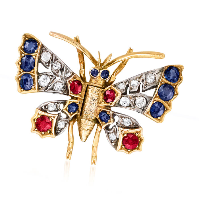 C. 1900 Vintage 1.00 ct. t.w. Sapphire, .40 ct. t.w. Ruby and .25 ct. t.w. Diamond Butterfly Pin in Sterling Silver and 10kt Gold