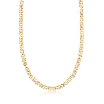 "C. 1990 Vintage 6.4mm 14kt Yellow Gold Panther-Link Necklace. 18"", , default"