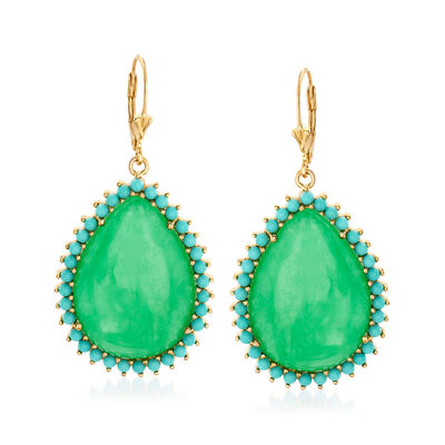 Jade and Simulated Turquoise Drop Earrings in 18kt Gold Over Sterling