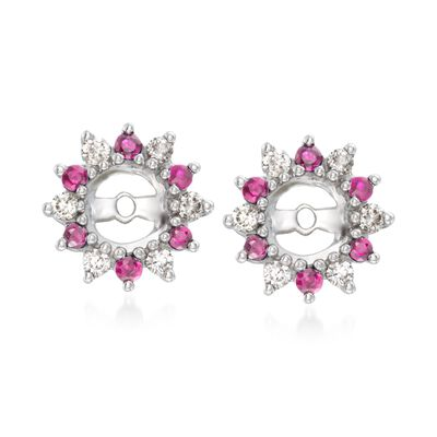 .30 ct. t.w. Ruby and .24 ct. t.w. Diamond Earring Jackets in 14kt White Gold, , default