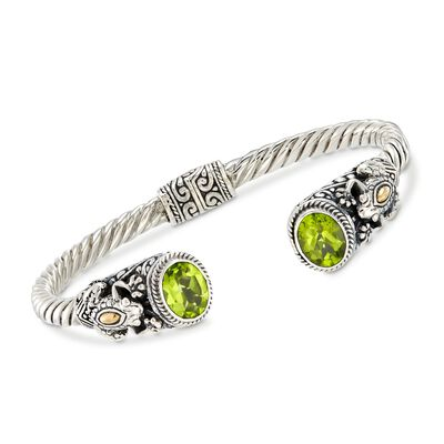 3.00 ct. t.w. Peridot and Two-Tone Sterling Silver Frog Cuff Bracelet, , default