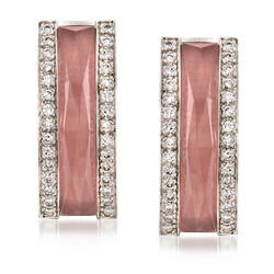 C. 2001 Vintage Pink Glass and .75 ct. t.w. Diamond Earrings With British Hallmark in 18kt White Gold  , , default