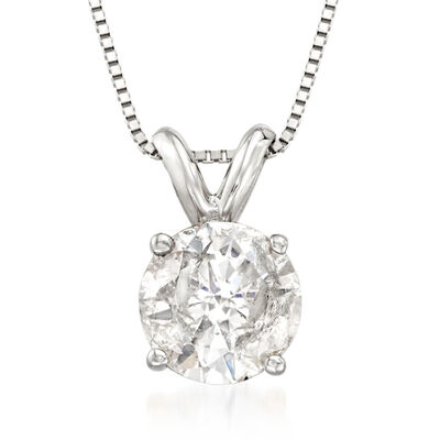 1.00 Carat Diamond Solitaire Pendant Necklace in 14kt White Gold