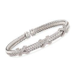 """Charles Garnier """"Asolo"""" 1.20 ct. t.w. CZ Cuff Bracelet in Sterling Silver. 7"""", , default"""