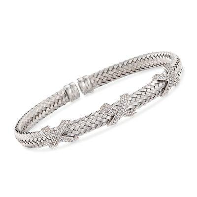 """Charles Garnier """"Asolo"""" 1.20 ct. t.w. CZ Cuff Bracelet in Sterling Silver, , default"""