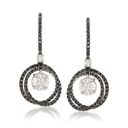 1.40 ct. t.w. Black and White Diamond Cluster Circle Drop Earrings in 14kt White Gold, , default