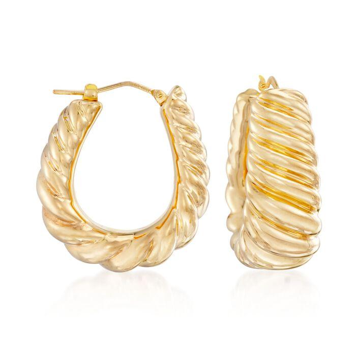 """Italian Andiamo 14kt Yellow Gold Ribbed Hoop Earrings. 1"""", , default"""