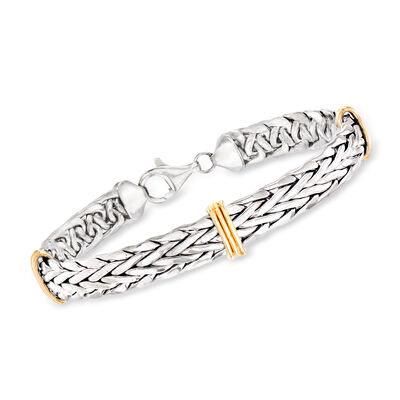 Sterling Silver and 14kt Yellow Gold Wheat-Link Bracelet