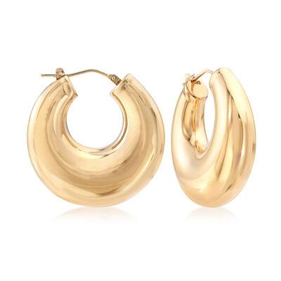 C. 1990 Vintage 18kt Yellow Gold Hoop Earrings, , default