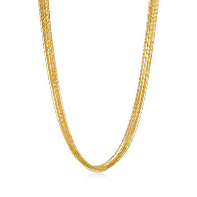 Italian 18kt Yellow Gold Over Sterling Silver Bead Chain Necklace, , default