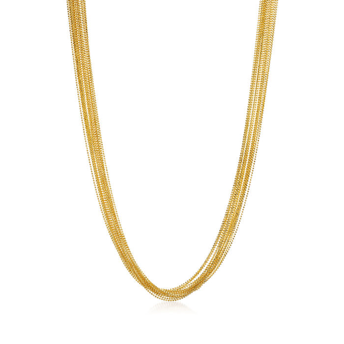 Italian 18kt Yellow Gold Over Sterling Silver Bead Chain Necklace