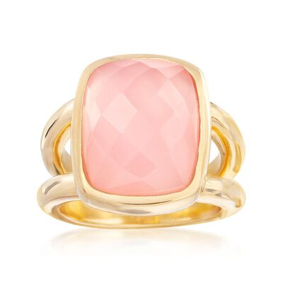 Pink Chalcedony Ring in 18kt Yellow Gold Over Sterling Silver, , default