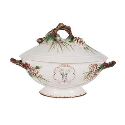 """Fitz and Floyd """"Forest Frost"""" Soup Tureen with Ladle, , default"""