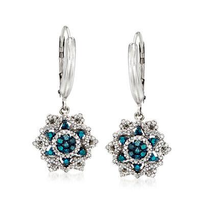 .50 ct. t.w. Blue and White Diamond Flower Drop Earrings in Sterling Silver, , default