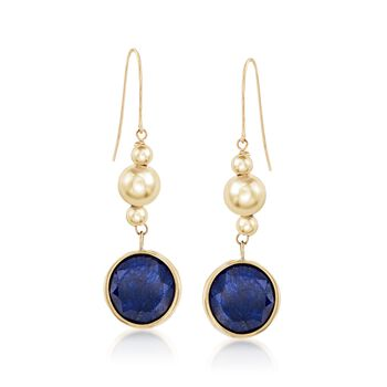 10mm Blue Corundum Drop Earrings in 14kt Yellow Gold, , default