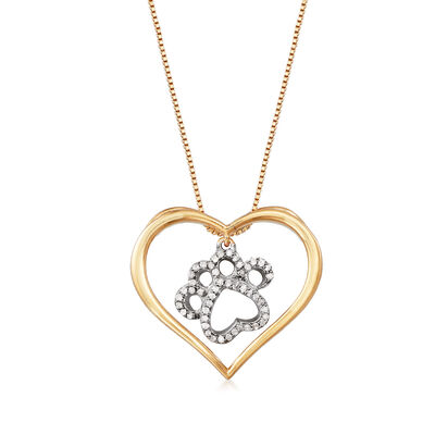 .15 ct. t.w. Diamond Paw Print and Heart Necklace in Sterling Silver and 18kt Gold Over Sterling, , default