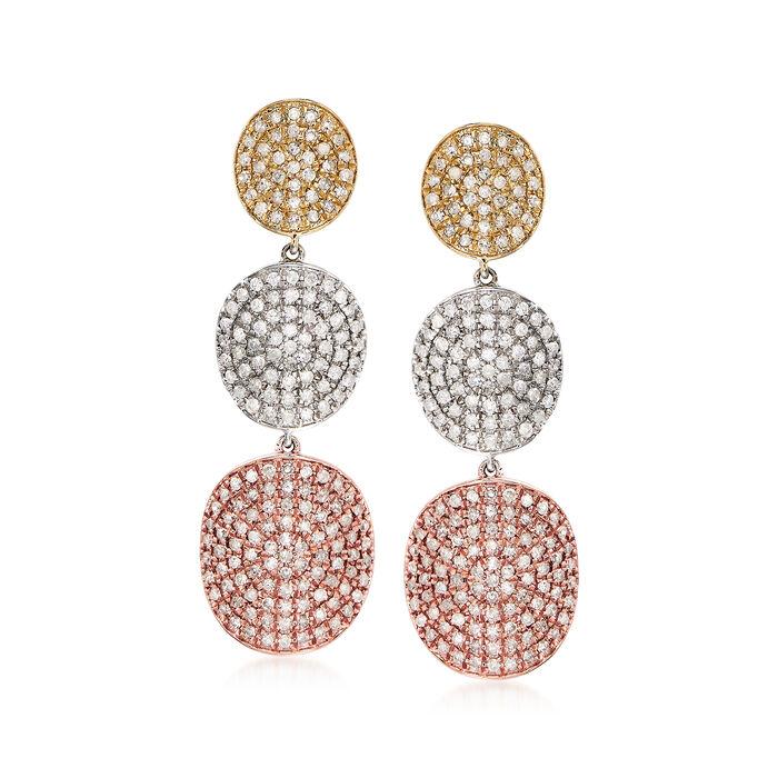 2.00 ct. t.w. Diamond Drop Earrings in 14kt Tri-Colored Gold, , default