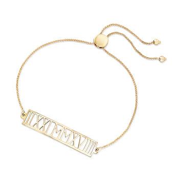 14kt Yellow Gold Roman Numeral Date Bolo Bracelet, , default
