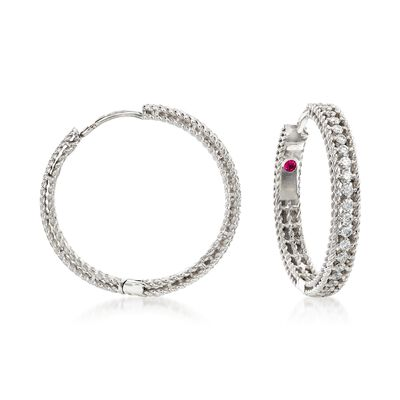 "Roberto Coin ""Symphony Princess"" .45 ct. t.w. Diamond Hoop Earrings in 18kt White Gold"