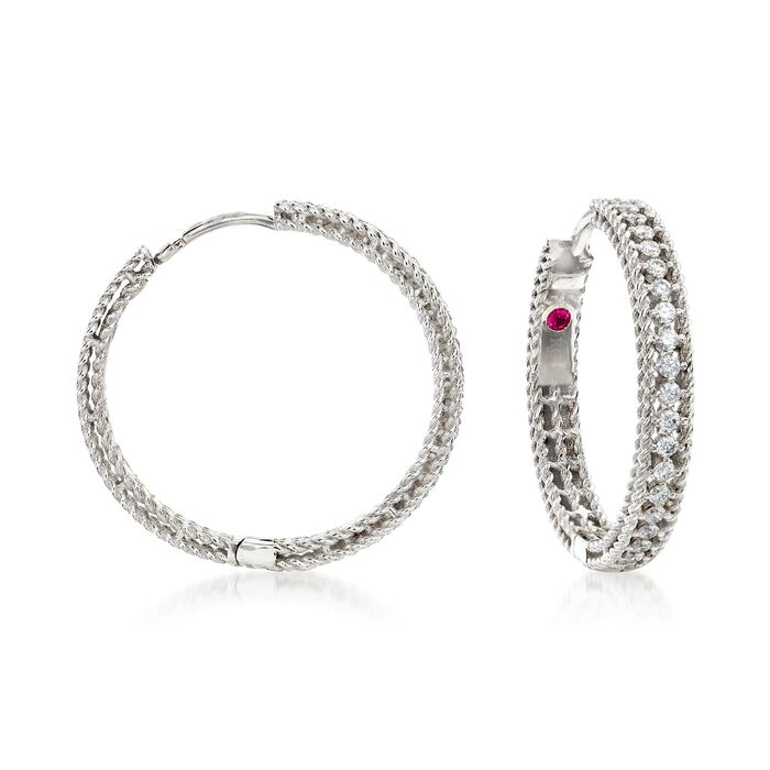 "Roberto Coin ""Symphony Princess"" .45 ct. t.w. Diamond Hoop Earrings in 18kt White Gold. 7/8"""