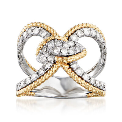 1.00 ct. t.w. Diamond Knot Ring in Sterling Silver with 14kt Yellow Gold
