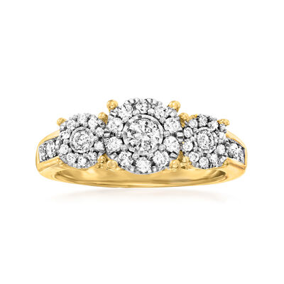C. 1990 Vintage .85 ct. t.w. Diamond Cluster Ring in 14kt Yellow Gold
