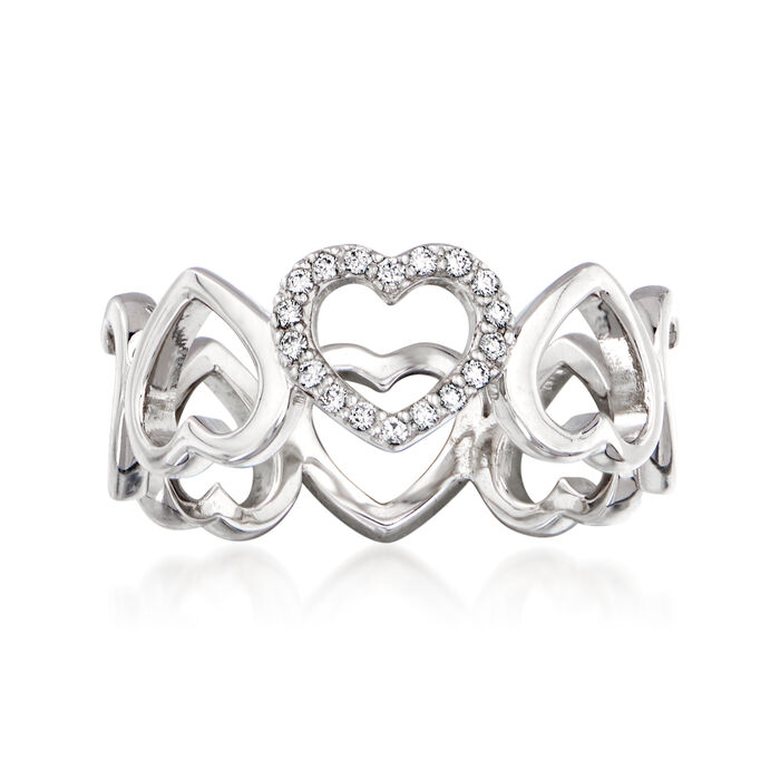 C. 1990 Vintage Tiffany Jewelry .10 ct. t.w. Diamond Heart Ring in 18kt White Gold