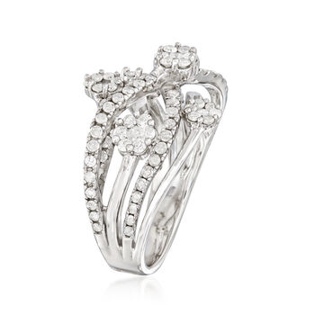 Floral 1.25 ct. t.w. Diamond Highway Ring in Sterling Silver