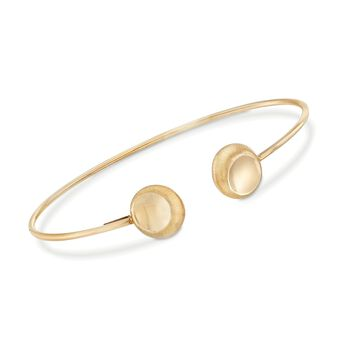 "Italian 14kt Yellow Gold Satin-Finished Bead Cuff Bracelet. 7.5"", , default"